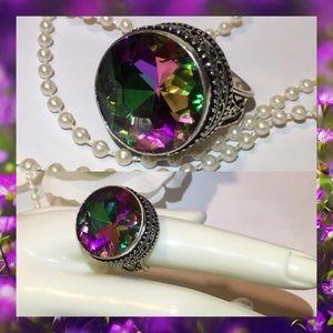 Mystical Rainbow Quartz Handmade Vintage Ring